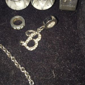 "Pandora Silver Initial ""B"" Charm"